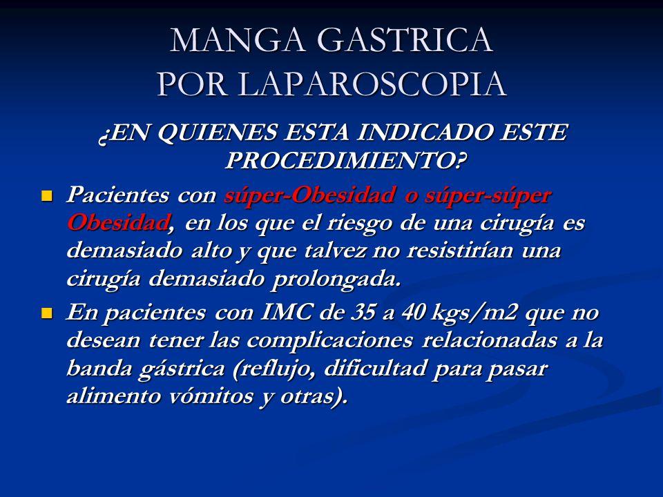 MANGA GASTRICA POR LAPAROSCOPIA ¿EN QUIENES ESTA INDICADO ESTE PROCEDIMIENTO? Pacientes con súper-Obesidad o súper-súper Obesidad, en los que el riesg