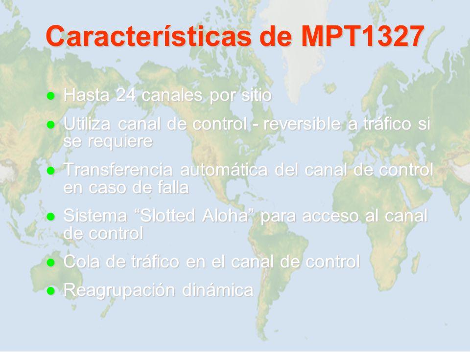 Características de MPT1327 Hasta 24 canales por sitio Hasta 24 canales por sitio Utiliza canal de control - reversible a tráfico si se requiere Utiliz