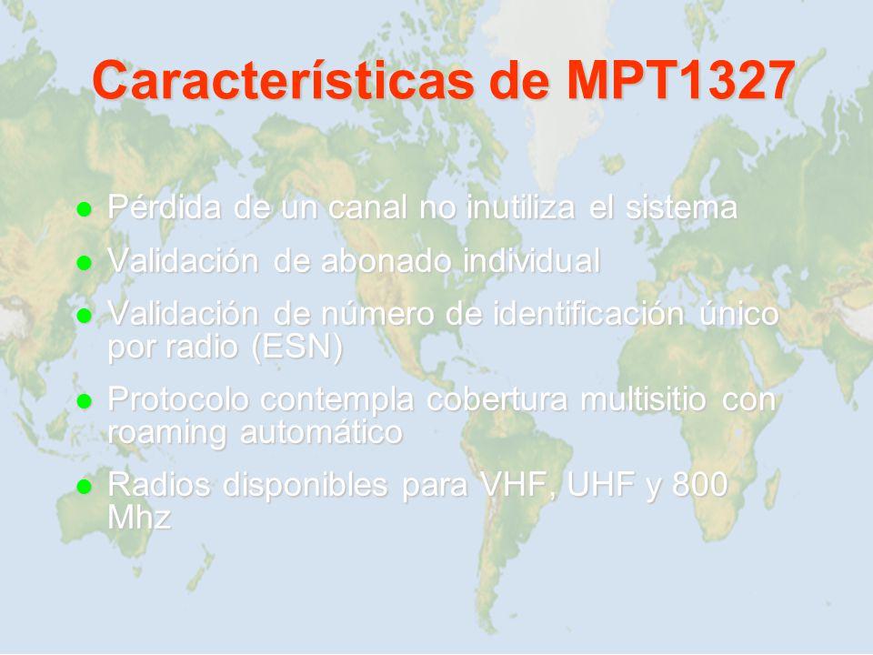 Características de MPT1327 Pérdida de un canal no inutiliza el sistema Pérdida de un canal no inutiliza el sistema Validación de abonado individual Va
