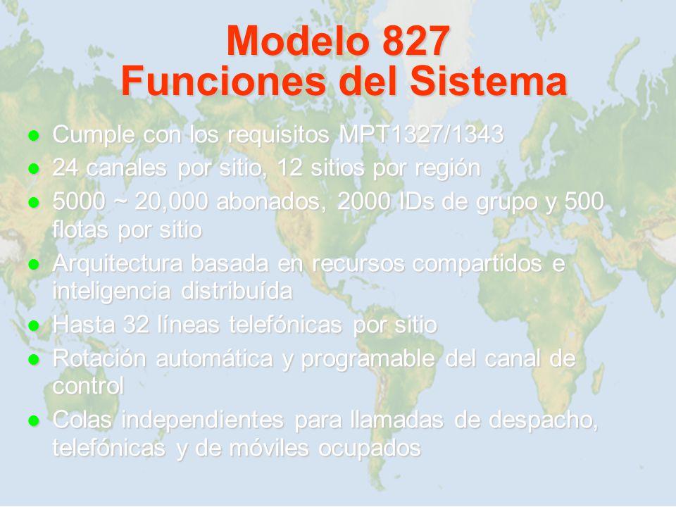 Modelo 827 Funciones del Sistema Cumple con los requisitos MPT1327/1343 Cumple con los requisitos MPT1327/1343 24 canales por sitio, 12 sitios por reg