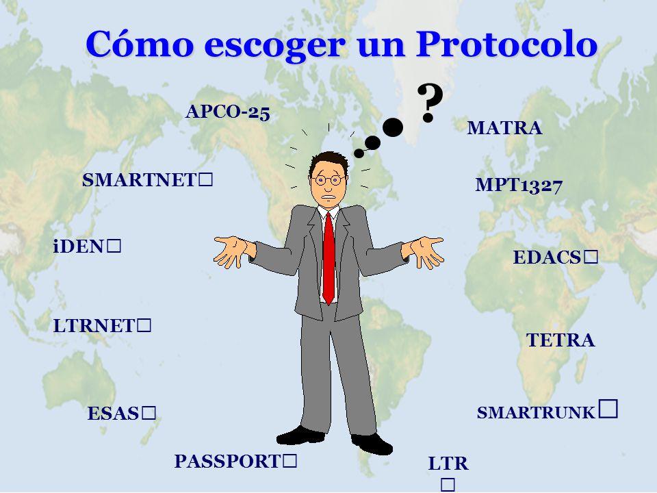 FUNCIONLTRMPT1327 Señalización sub-audible contínuo FFSK 1200 bps Método de Control distribuído (home channel)canal de control fijo/rotable Tipos de Llamada grupo, telefónicasgrupo, individuales, telefónicas, broadcast, prioridad, estatus de emergency, mensajes de data Abonados 250 ID por canal5000-20,000 ID por sitio Canales/sitio 2024 Redes requiere switch externo incorporado en el M827 de Zetron Acceso Telefónico dedicado por canalacceso compartido Prioridades igual para todos3 prioridades más emergencia Llamada de Grupo SíSí, con capacidad de reintegro al grupo Falla de Canal requiere repuestoauto-reasignación del canal de control Validación ESN NoSí ANI SíSí Reagrup Dinámica Por programación especialSí por comando del despachador Mensajes de Data NoSí, de status, mensajes cortos y largos Re-enrutamiento NoSí, similar a transferencia de llamadas Data Serial NoSí, a 1200 bps bajo interfase MAP27 Comparación entre LTR y M827