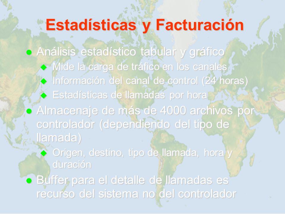 Estadísticas y Facturación Análisis estadístico tabular y gráfico Análisis estadístico tabular y gráfico Mide la carga de tráfico en los canales Mide