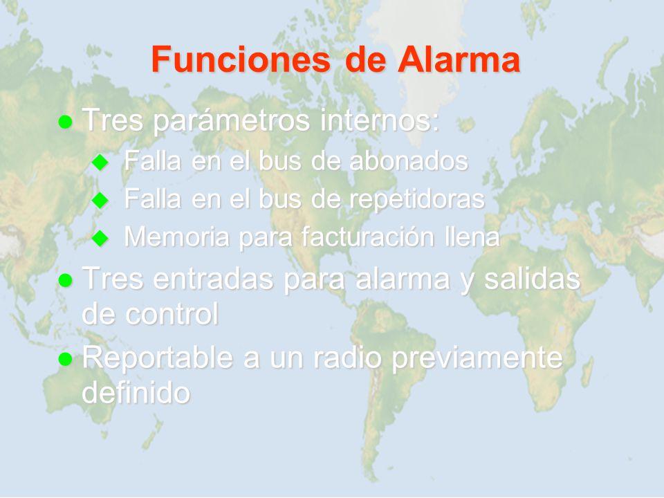 Funciones de Alarma Tres parámetros internos: Tres parámetros internos: Falla en el bus de abonados Falla en el bus de abonados Falla en el bus de rep