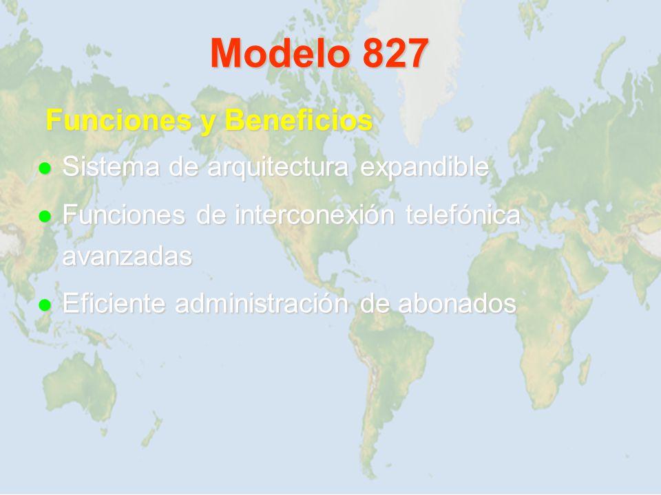 Modelo 827 Sistema de arquitectura expandible Sistema de arquitectura expandible Funciones de interconexión telefónica avanzadas Funciones de intercon