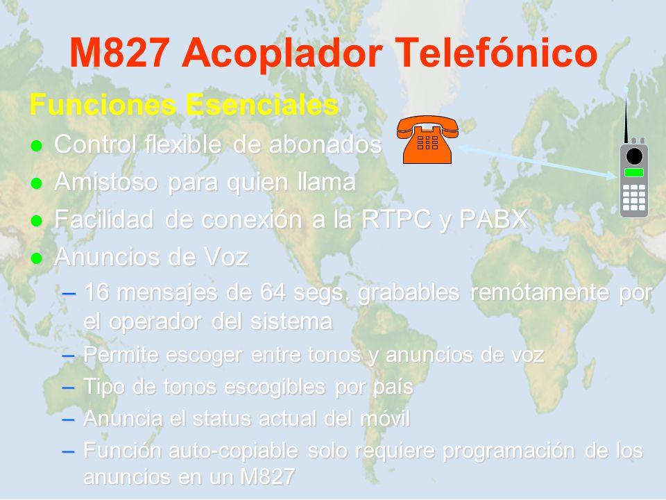 M827 Acoplador Telefónico Funciones Esenciales Control flexible de abonados Control flexible de abonados Amistoso para quien llama Amistoso para quien