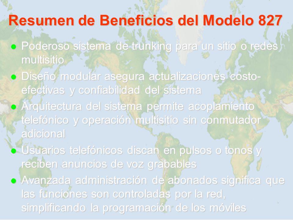Resumen de Beneficios del Modelo 827 Poderoso sistema de trunking para un sitio o redes multisitio Poderoso sistema de trunking para un sitio o redes