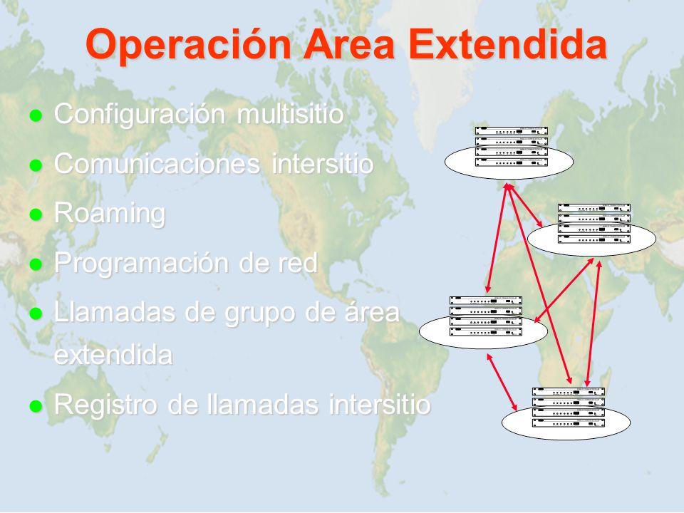 Operación Area Extendida l Configuración multisitio l Comunicaciones intersitio l Roaming l Programación de red l Llamadas de grupo de área extendida