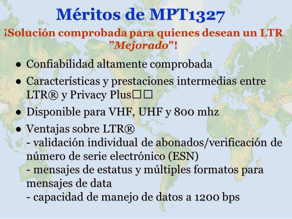 Méritos de MPT1327 Confiabilidad altamente comprobada Confiabilidad altamente comprobada Características y prestaciones intermedias entre LTR® y Priva