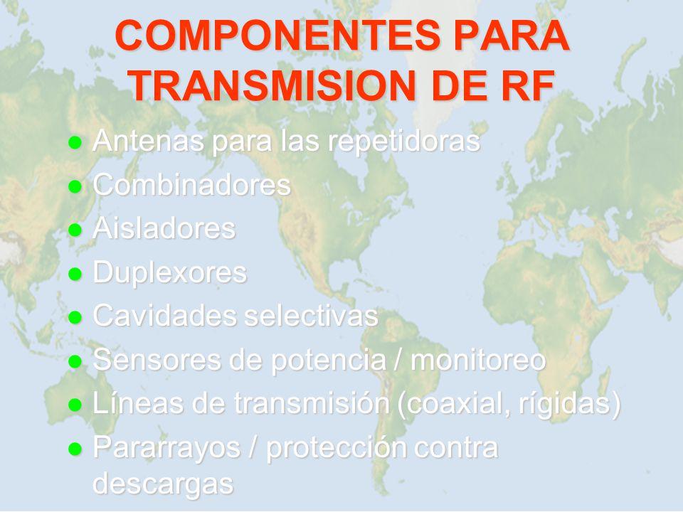 l Antenas para las repetidoras l Combinadores l Aisladores l Duplexores l Cavidades selectivas l Sensores de potencia / monitoreo l Líneas de transmis