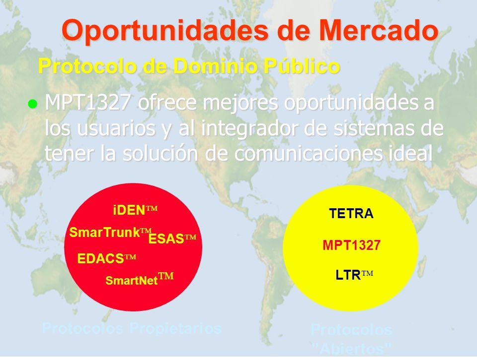 Oportunidades de Mercado MPT1327 ofrece mejores oportunidades a los usuarios y al integrador de sistemas de tener la solución de comunicaciones ideal