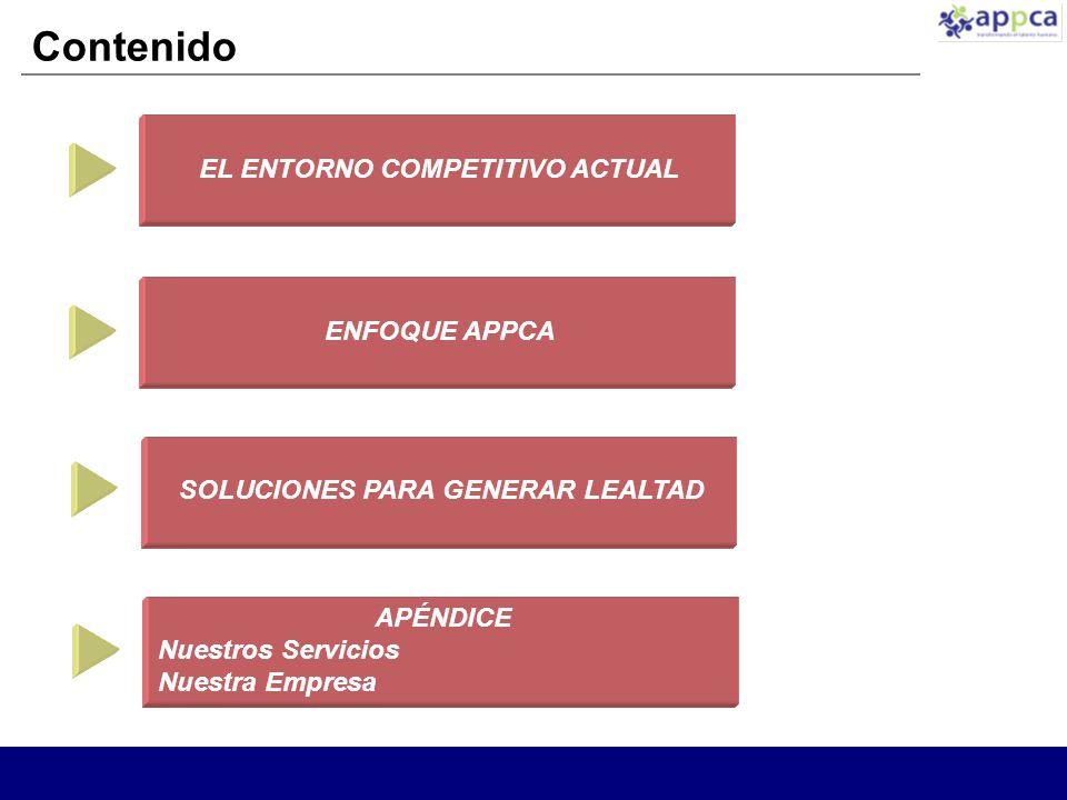 Contenido EL ENTORNO COMPETITIVO ACTUAL ENFOQUE APPCA SOLUCIONES PARA GENERAR LEALTAD APÉNDICE Nuestros Servicios Nuestra Empresa