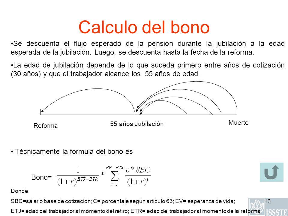 13 Calculo del bono Donde SBC=salario base de cotización; C= porcentaje según artículo 63; EV= esperanza de vida; ETJ= edad del trabajador al momento