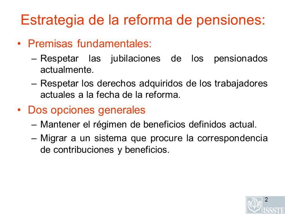 2 Estrategia de la reforma de pensiones: Premisas fundamentales: –Respetar las jubilaciones de los pensionados actualmente. –Respetar los derechos adq