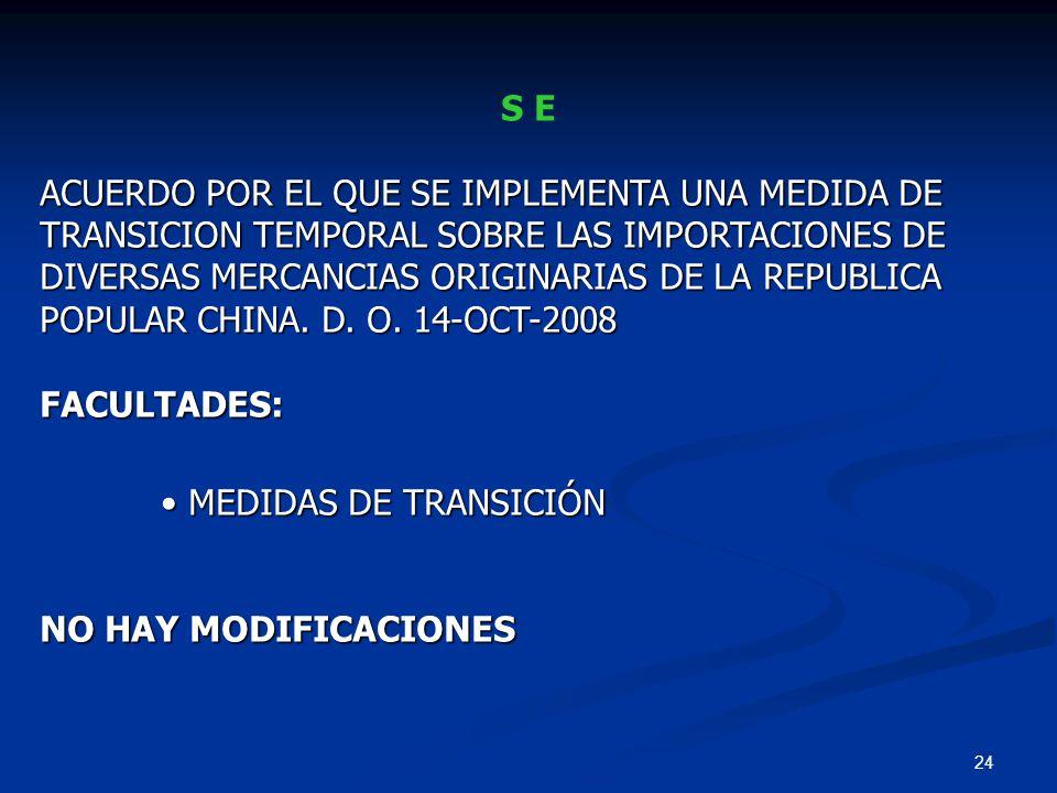 24 S E ACUERDO POR EL QUE SE IMPLEMENTA UNA MEDIDA DE TRANSICION TEMPORAL SOBRE LAS IMPORTACIONES DE DIVERSAS MERCANCIAS ORIGINARIAS DE LA REPUBLICA P