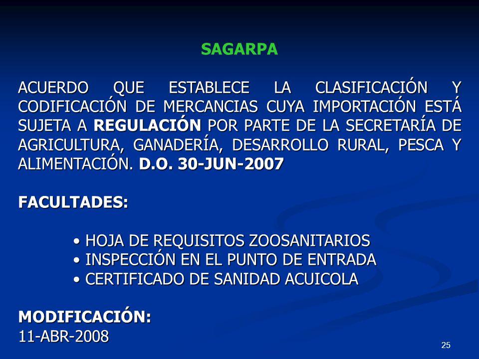 25 SAGARPA ACUERDO QUE ESTABLECE LA CLASIFICACIÓN Y CODIFICACIÓN DE MERCANCIAS CUYA IMPORTACIÓN ESTÁ SUJETA A REGULACIÓN POR PARTE DE LA SECRETARÍA DE