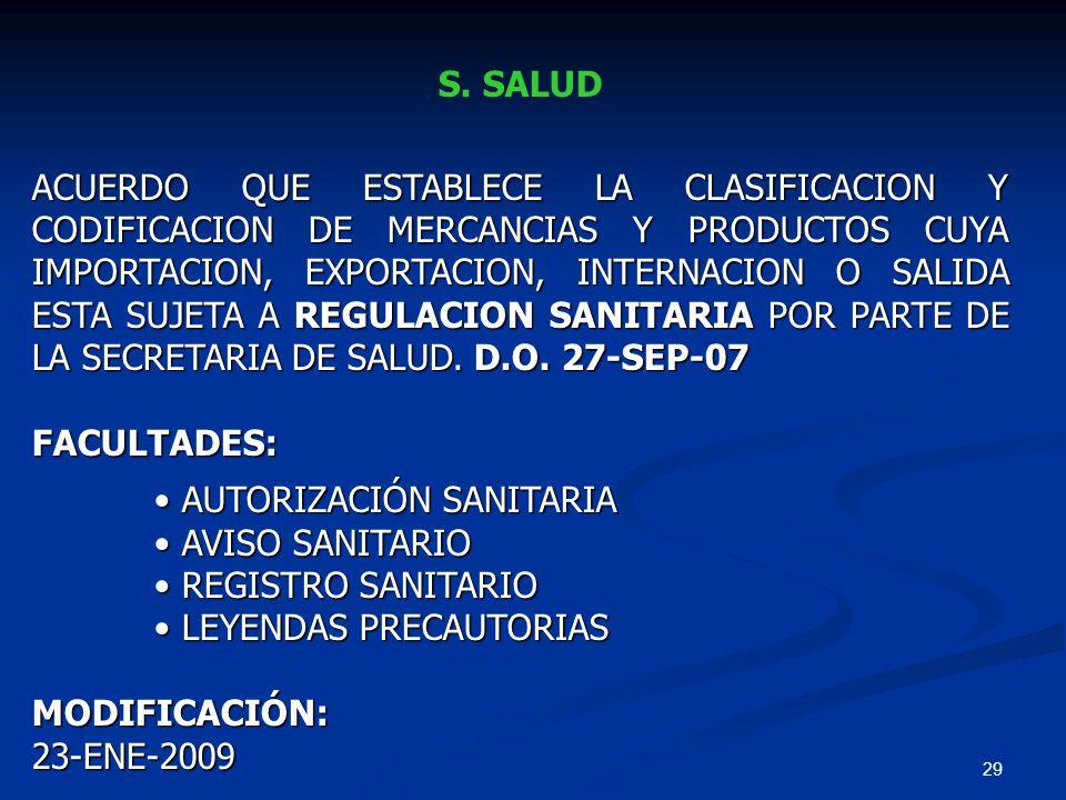 29 S. SALUD ACUERDO QUE ESTABLECE LA CLASIFICACION Y CODIFICACION DE MERCANCIAS Y PRODUCTOS CUYA IMPORTACION, EXPORTACION, INTERNACION O SALIDA ESTA S