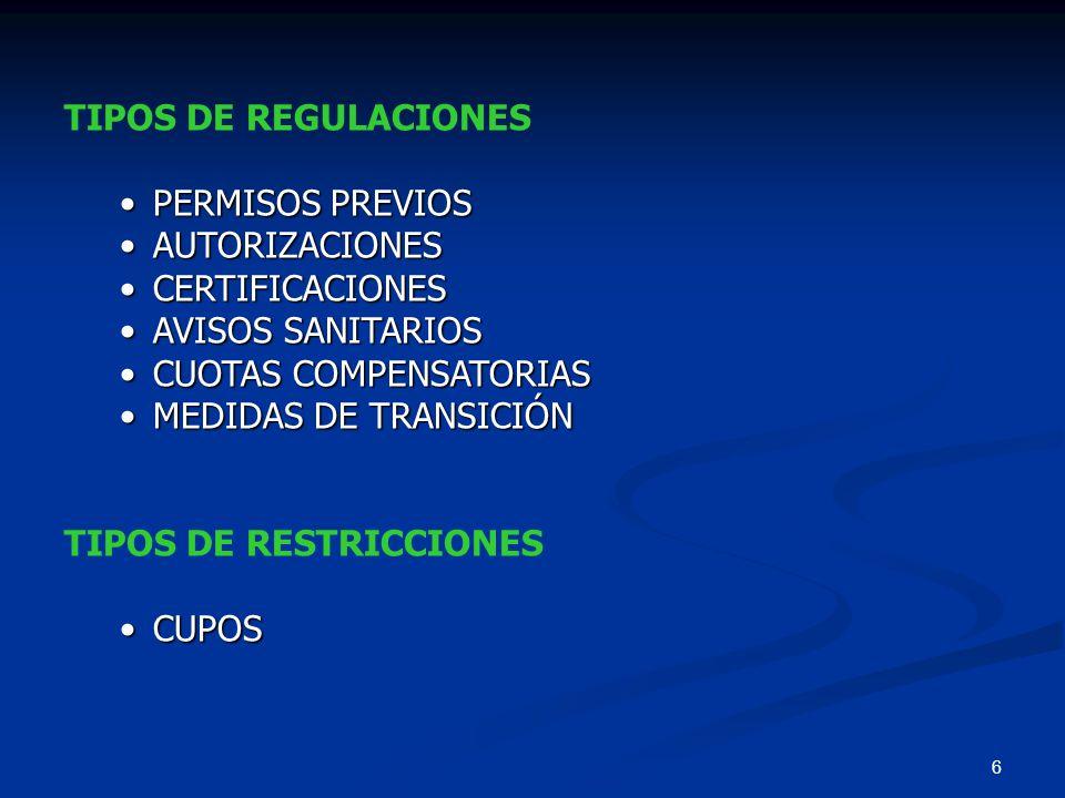 6 TIPOS DE REGULACIONES PERMISOS PREVIOSPERMISOS PREVIOS AUTORIZACIONESAUTORIZACIONES CERTIFICACIONESCERTIFICACIONES AVISOS SANITARIOSAVISOS SANITARIO
