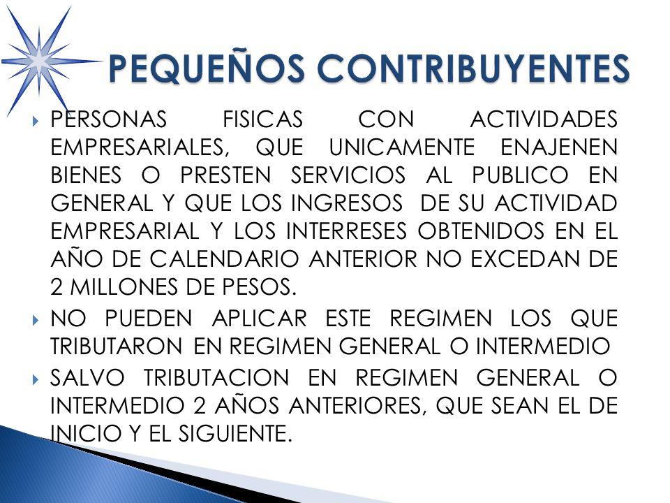 PERSONAS FISICAS CON ACTIVIDADES EMPRESARIALES, QUE UNICAMENTE ENAJENEN BIENES O PRESTEN SERVICIOS AL PUBLICO EN GENERAL Y QUE LOS INGRESOS DE SU ACTIVIDAD EMPRESARIAL Y LOS INTERRESES OBTENIDOS EN EL AÑO DE CALENDARIO ANTERIOR NO EXCEDAN DE 2 MILLONES DE PESOS.