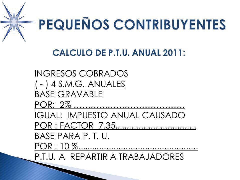 CALCULO DE P.T.U.ANUAL 2011: INGRESOS COBRADOS ( - ) 4 S.M.G.
