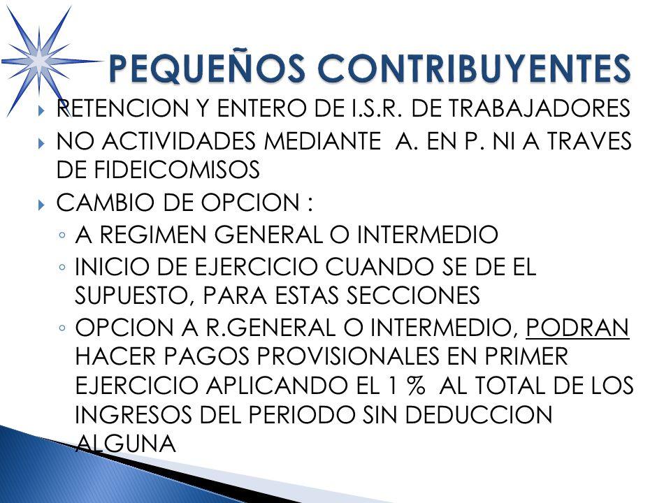 RETENCION Y ENTERO DE I.S.R.DE TRABAJADORES NO ACTIVIDADES MEDIANTE A.