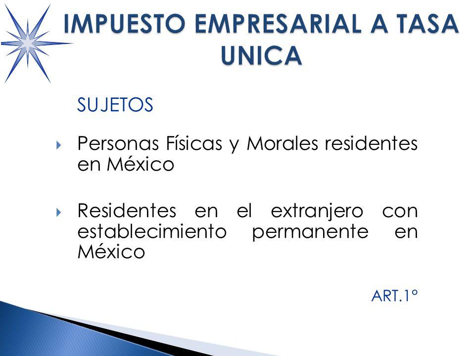 SUJETOS Personas Físicas y Morales residentes en México Residentes en el extranjero con establecimiento permanente en México ART.1°