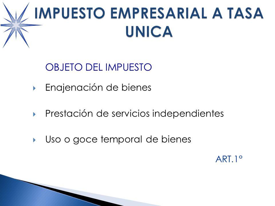 OBJETO DEL IMPUESTO Enajenación de bienes Prestación de servicios independientes Uso o goce temporal de bienes ART.1°