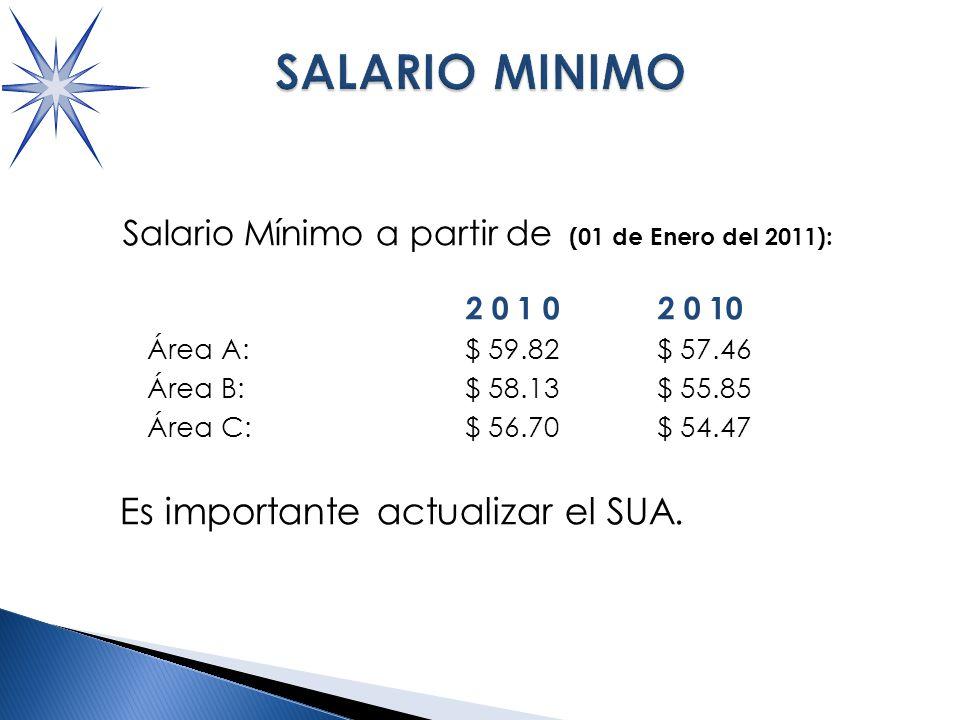 SALARIO MINIMO Salario Mínimo a partir de (01 de Enero del 2011): 2 0 1 0 2 0 10 Área A:$ 59.82 $ 57.46 Área B:$ 58.13 $ 55.85 Área C:$ 56.70 $ 54.47 Es importante actualizar el SUA.