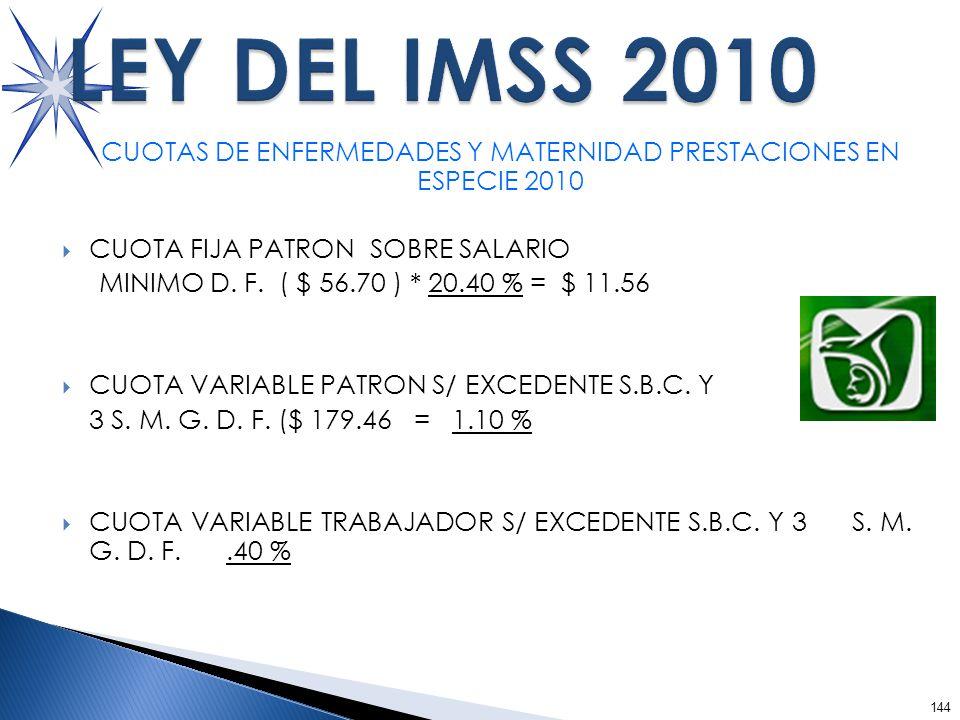 144 CUOTAS DE ENFERMEDADES Y MATERNIDAD PRESTACIONES EN ESPECIE 2010 CUOTA FIJA PATRON SOBRE SALARIO MINIMO D.
