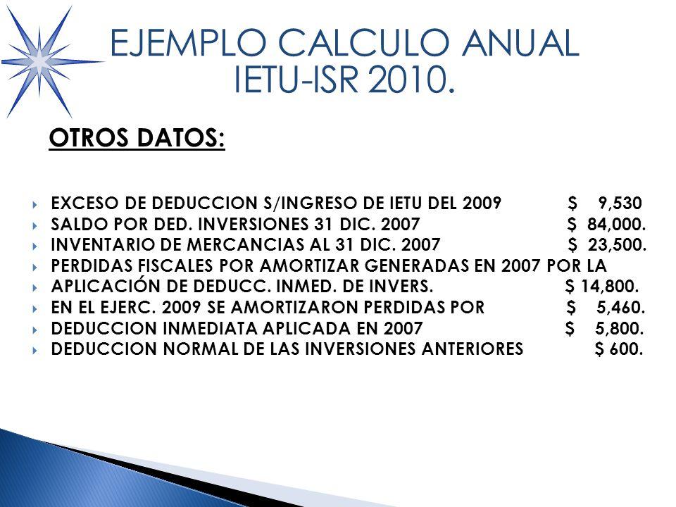 OTROS DATOS PARA LOS ACREDITAMIENTOS VS IETU: EXCESO DE DEDUCCION S/INGRESO DE IETU DEL 2009 $ 9,530 SALDO POR DED.
