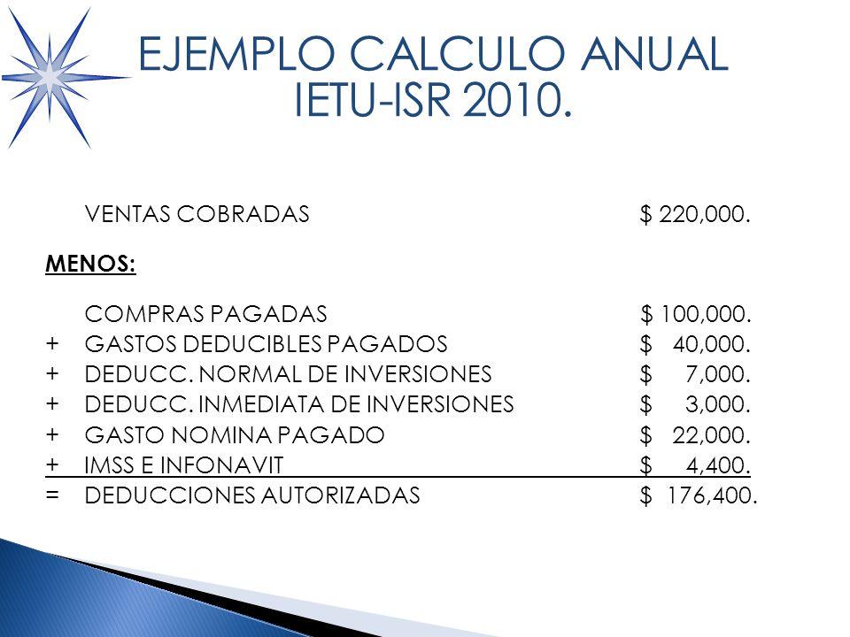 CALCULO ISR 2010 VENTAS COBRADAS $ 220,000.MENOS: COMPRAS PAGADAS$ 100,000.