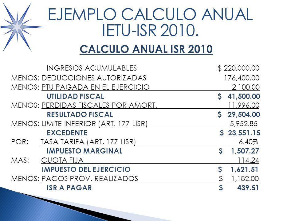 CALCULO ANUAL ISR 2010 INGRESOS ACUMULABLES $ 220,000.00 MENOS: DEDUCCIONES AUTORIZADAS 176,400.00 MENOS: PTU PAGADA EN EL EJERCICIO 2,100.00 UTILIDAD FISCAL$ 41,500.00 MENOS: PERDIDAS FISCALES POR AMORT.