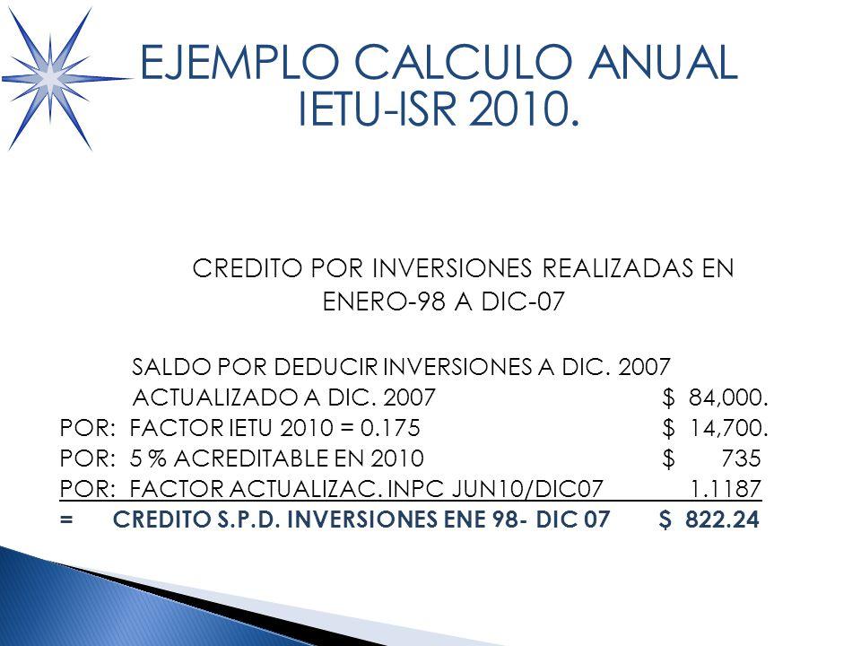 CALCULO ACREDITAMIENTOS VS IETU CREDITO POR INVERSIONES REALIZADAS EN ENERO-98 A DIC-07 SALDO POR DEDUCIR INVERSIONES A DIC.