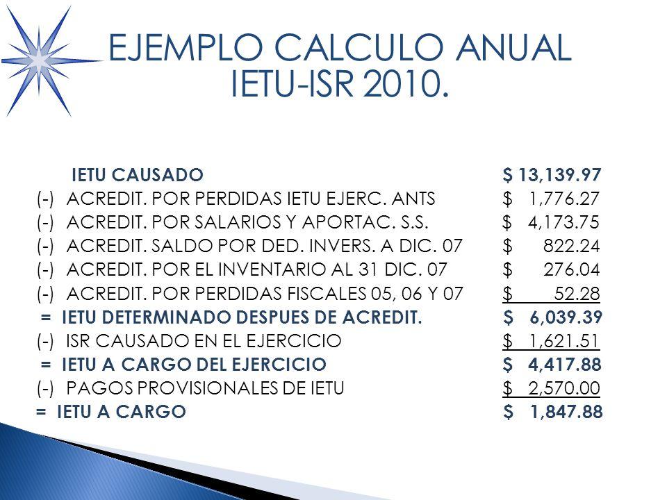 CALCULO IETU A PAGAR IETU CAUSADO $ 13,139.97 (-) ACREDIT.