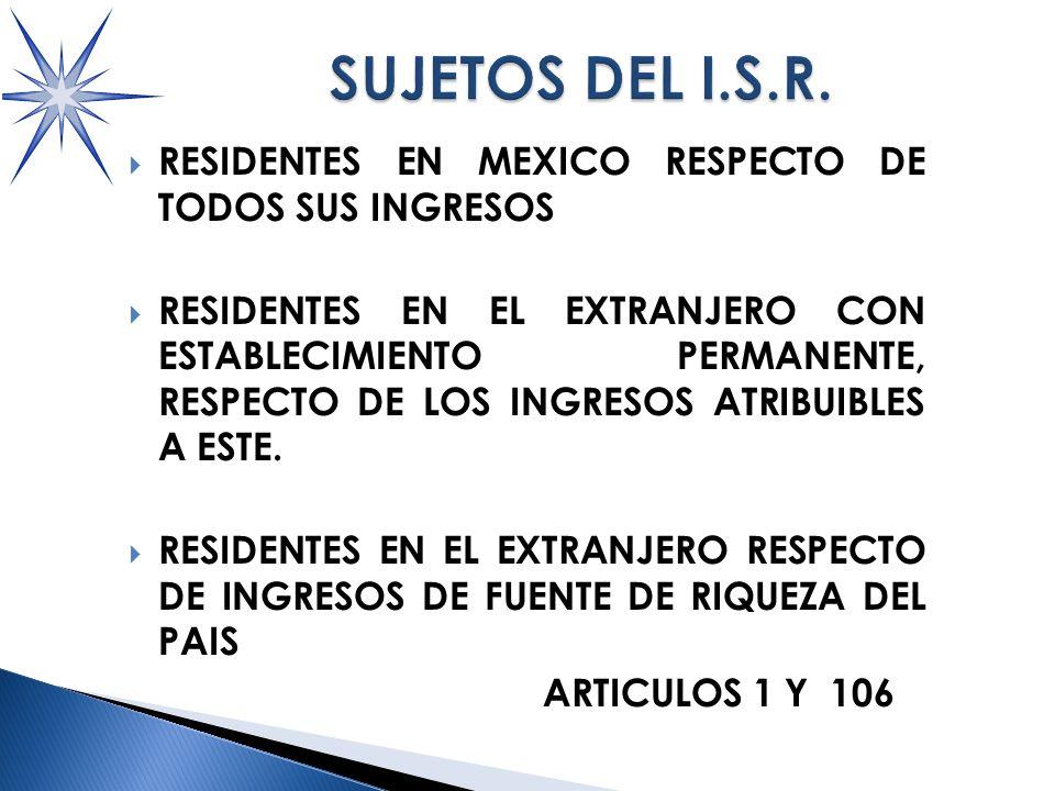 RESIDENTES EN MEXICO RESPECTO DE TODOS SUS INGRESOS RESIDENTES EN EL EXTRANJERO CON ESTABLECIMIENTO PERMANENTE, RESPECTO DE LOS INGRESOS ATRIBUIBLES A ESTE.