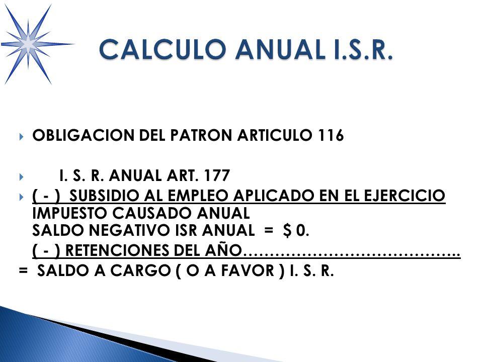 OBLIGACION DEL PATRON ARTICULO 116 I.S. R. ANUAL ART.