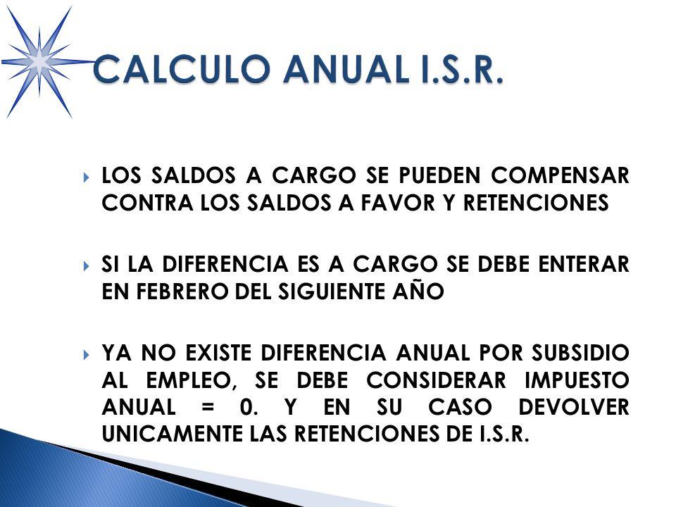 LOS SALDOS A CARGO SE PUEDEN COMPENSAR CONTRA LOS SALDOS A FAVOR Y RETENCIONES SI LA DIFERENCIA ES A CARGO SE DEBE ENTERAR EN FEBRERO DEL SIGUIENTE AÑO YA NO EXISTE DIFERENCIA ANUAL POR SUBSIDIO AL EMPLEO, SE DEBE CONSIDERAR IMPUESTO ANUAL = 0.
