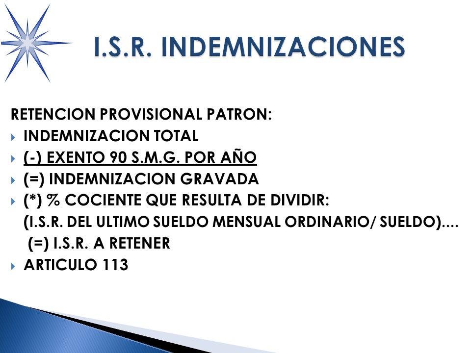 RETENCION PROVISIONAL PATRON: INDEMNIZACION TOTAL (-) EXENTO 90 S.M.G.