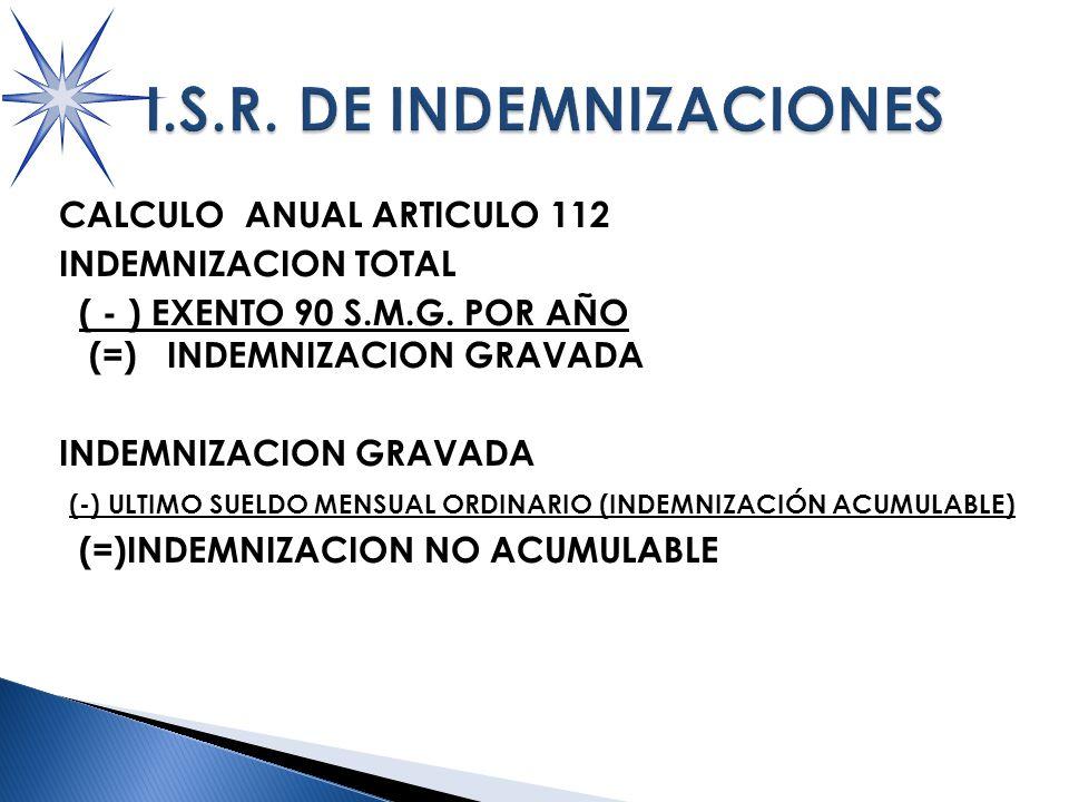 CALCULO ANUAL ARTICULO 112 INDEMNIZACION TOTAL ( - ) EXENTO 90 S.M.G.