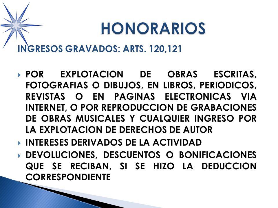 INGRESOS GRAVADOS: ARTS.