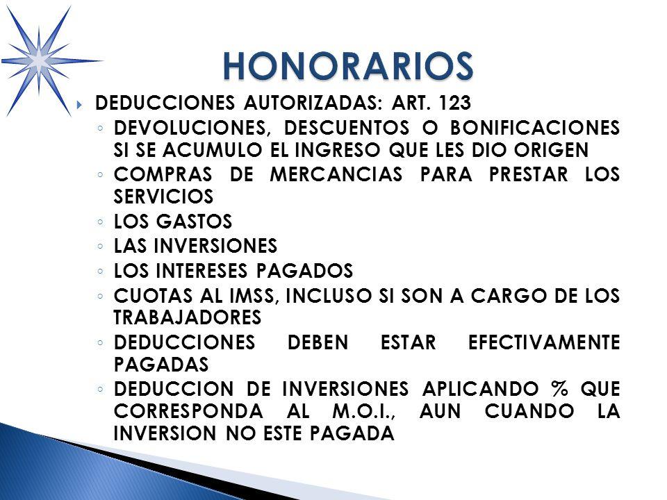 DEDUCCIONES AUTORIZADAS: ART.