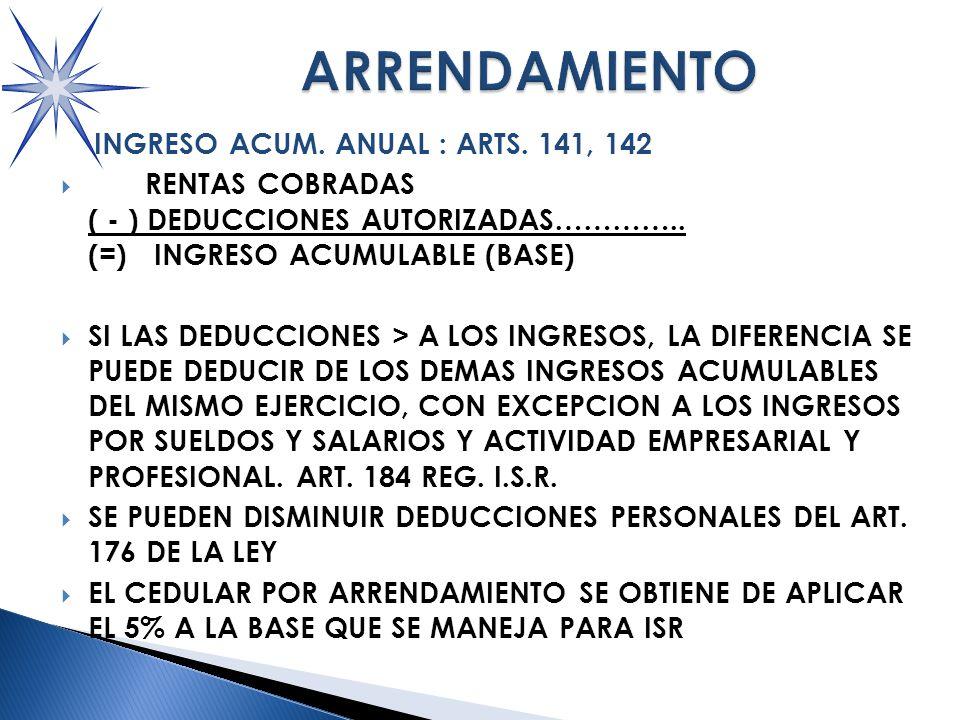 INGRESO ACUM.ANUAL : ARTS. 141, 142 RENTAS COBRADAS ( - ) DEDUCCIONES AUTORIZADAS…………..