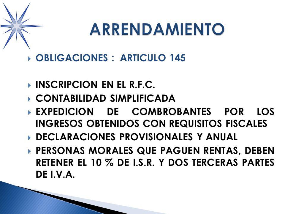 OBLIGACIONES : ARTICULO 145 INSCRIPCION EN EL R.F.C.