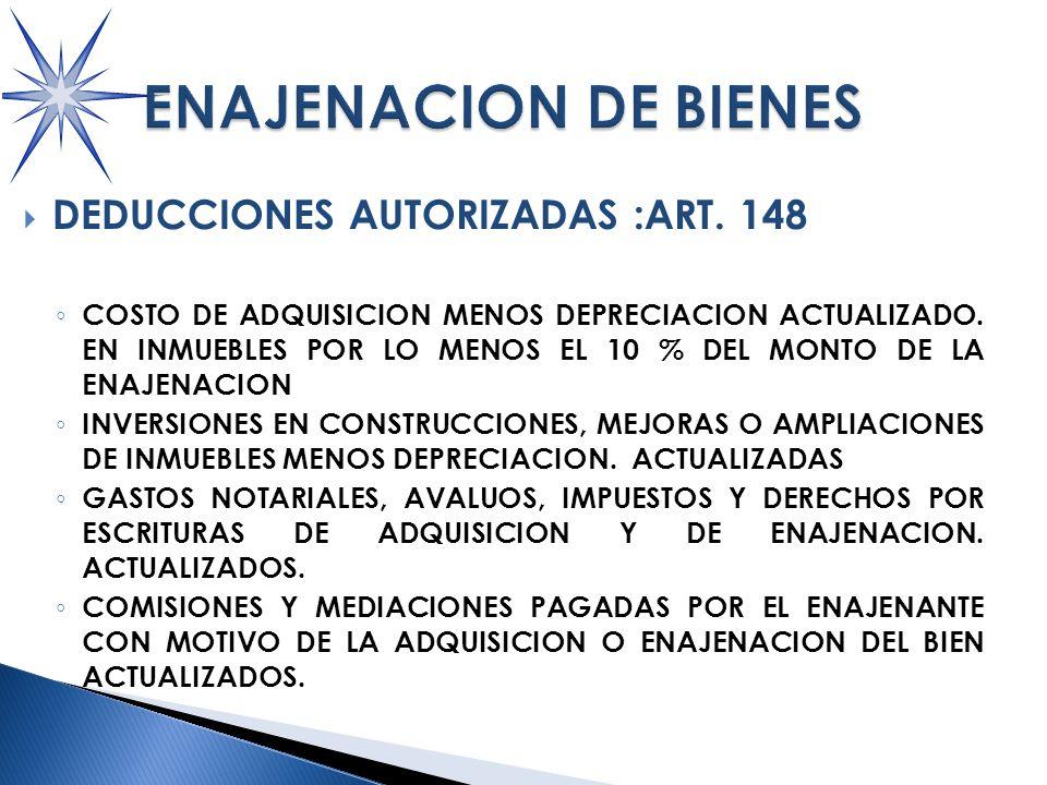 DEDUCCIONES AUTORIZADAS :ART.148 COSTO DE ADQUISICION MENOS DEPRECIACION ACTUALIZADO.