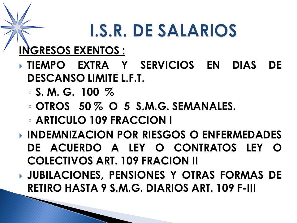 INGRESOS EXENTOS : TIEMPO EXTRA Y SERVICIOS EN DIAS DE DESCANSO LIMITE L.F.T.