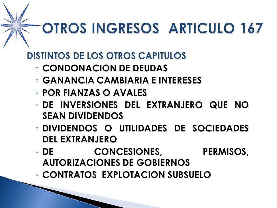 DISTINTOS DE LOS OTROS CAPITULOS CONDONACION DE DEUDAS GANANCIA CAMBIARIA E INTERESES POR FIANZAS O AVALES DE INVERSIONES DEL EXTRANJERO QUE NO SEAN DIVIDENDOS DIVIDENDOS O UTILIDADES DE SOCIEDADES DEL EXTRANJERO DE CONCESIONES, PERMISOS, AUTORIZACIONES DE GOBIERNOS CONTRATOS EXPLOTACION SUBSUELO
