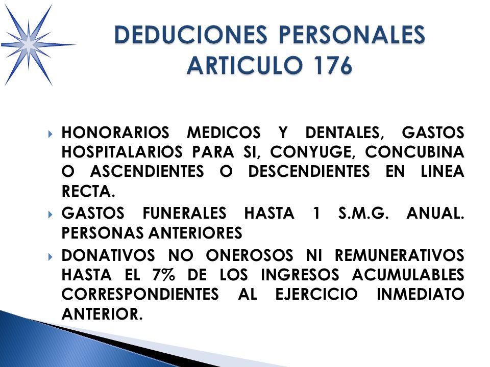 HONORARIOS MEDICOS Y DENTALES, GASTOS HOSPITALARIOS PARA SI, CONYUGE, CONCUBINA O ASCENDIENTES O DESCENDIENTES EN LINEA RECTA.