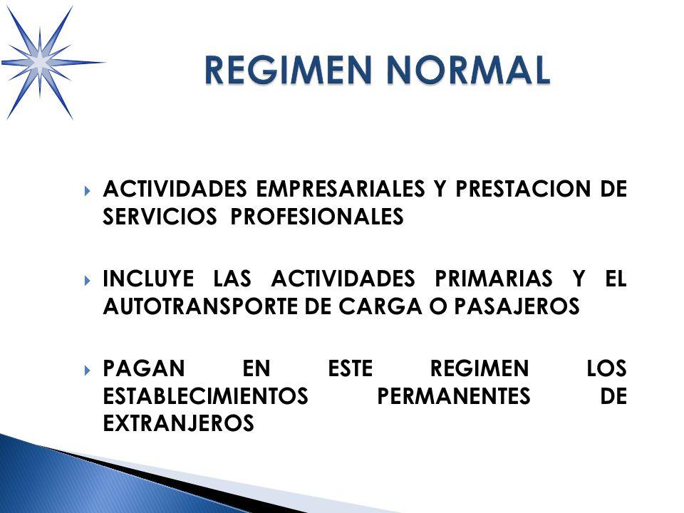 ACTIVIDADES EMPRESARIALES Y PRESTACION DE SERVICIOS PROFESIONALES INCLUYE LAS ACTIVIDADES PRIMARIAS Y EL AUTOTRANSPORTE DE CARGA O PASAJEROS PAGAN EN ESTE REGIMEN LOS ESTABLECIMIENTOS PERMANENTES DE EXTRANJEROS