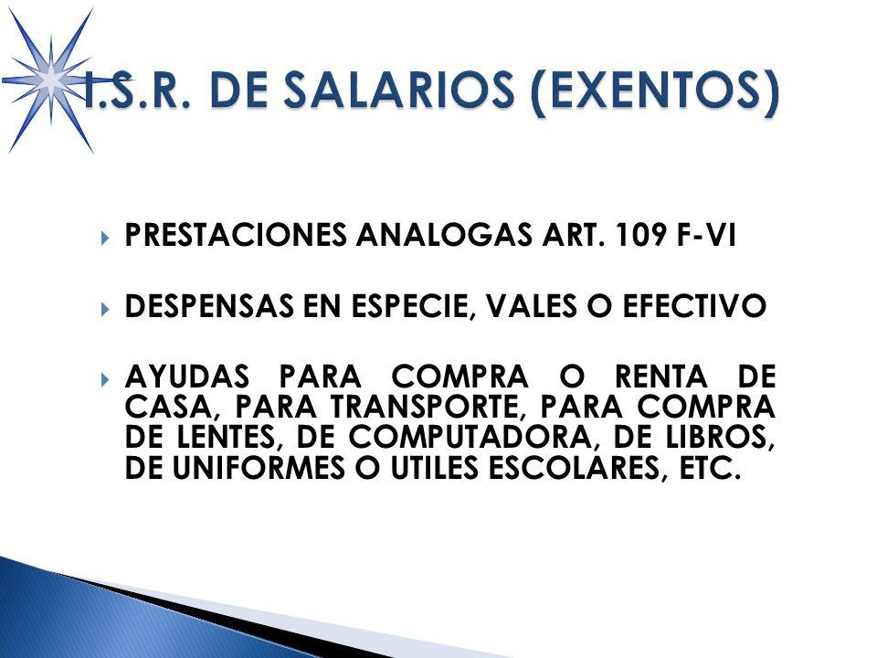 PRESTACIONES ANALOGAS ART.