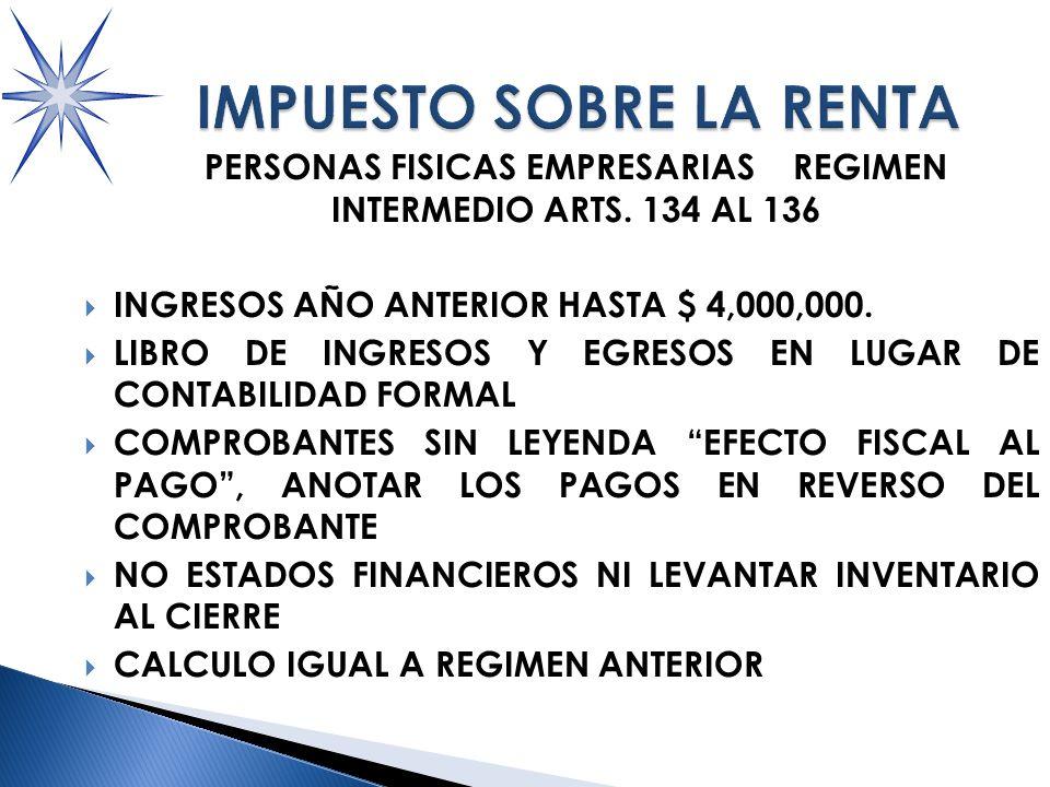 PERSONAS FISICAS EMPRESARIAS REGIMEN INTERMEDIO ARTS.