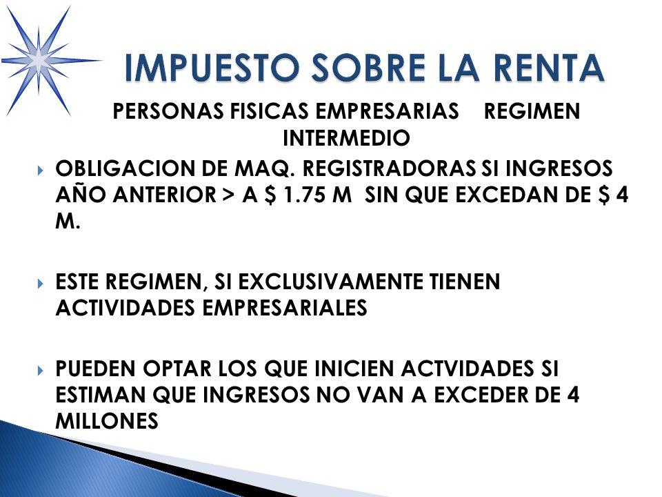 PERSONAS FISICAS EMPRESARIAS REGIMEN INTERMEDIO OBLIGACION DE MAQ.